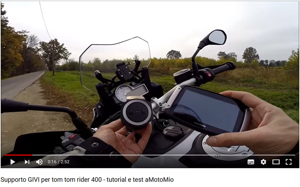 Supporto GIVI per tom tom rider 400 - tutorial e test aMotoMio